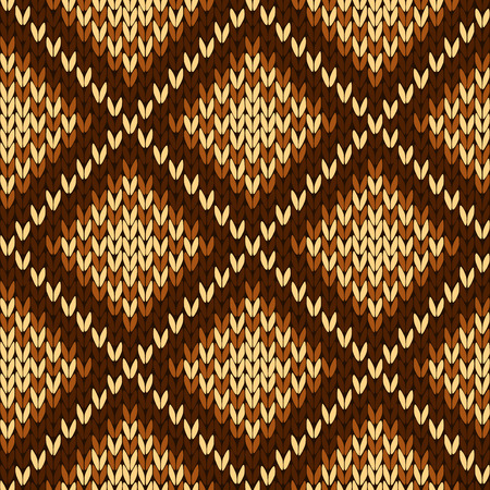 woollen: Abstract knitting ornamental seamless vector pattern with square cells in various hues of brown as a knitted fabric texture Illustration
