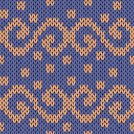 woollen: Knitting seamless ornate vector pattern with swirl elements in blue and beige colors as a knitted fabric texture Illustration