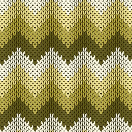 Seamless Zigzag Knitting Vector Pattern In Turquoise Brown