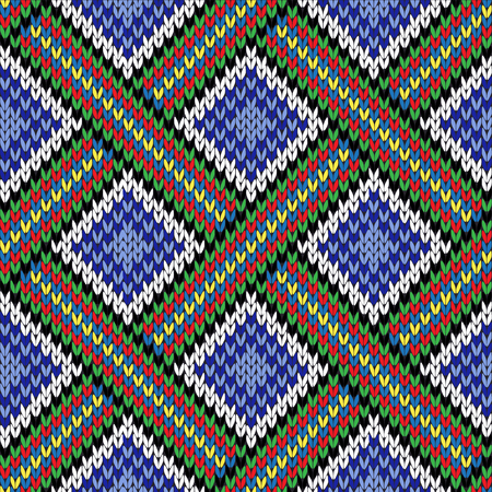 Abstract knitting ornamental seamless colorful vector pattern with square cells as a knitted fabric texture