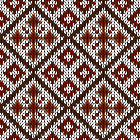 woollen: Abstract knitting ornamental seamless vector pattern with squares and crosses in white, red and brown colors as a knitted fabric texture