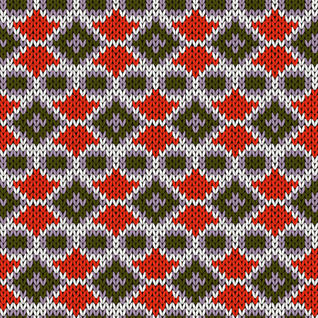 woollen: Ornate seamless knitting ornamental vector pattern in warm colors as a knitted fabric texture