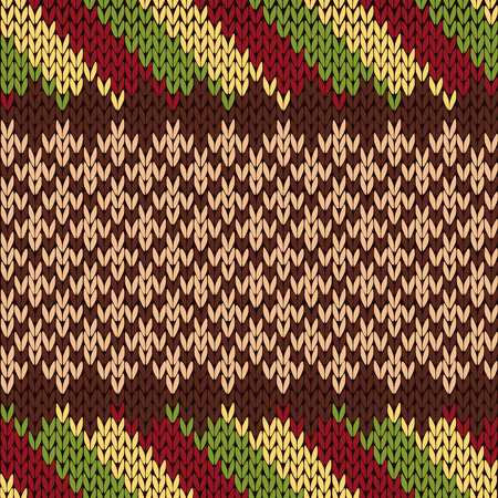 Seamless knitting vector pattern in red, brown, green and beige colors as a knitted fabric texture Illustration