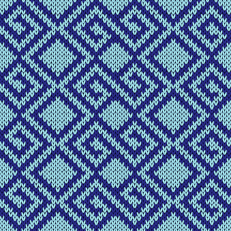 hues: Seamless knitting geometrical vector pattern in blue hues as a knitted fabric texture Illustration