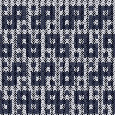 muted: Knitting geometrical seamless vector pattern in muted blue hues as a knitted fabric texture Illustration