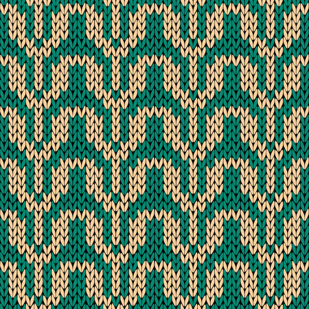 woollen: Knitting ornamental seamless vector pattern in turquoise and beige colors as a knitted fabric texture