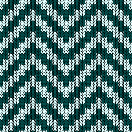 hues: Knitting zigzag seamless vector pattern in muted hues of turquoise colors as a knitted fabric texture