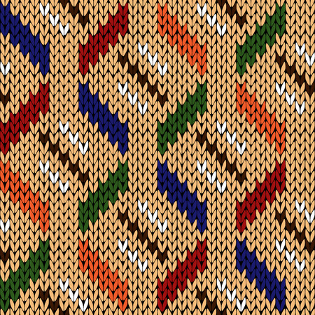 woollen: Seamless knitting geometrical vector pattern with elements in various colors over beige background as a knitted fabric texture