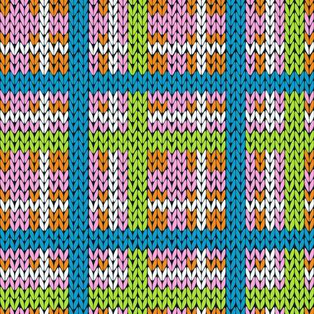 Knitting checkered seamless vector pattern with perpendicular lines as a woollen plaid or a knitted fabric texture in various colors Illustration