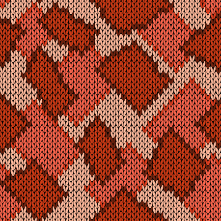 hues: Knitting seamless scrappy vector pattern in brown, orange and beige hues as a knitted fabric texture
