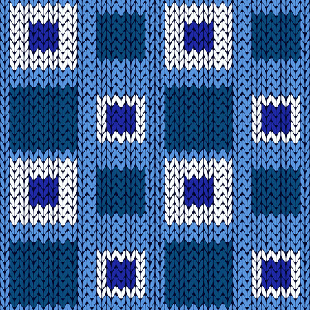 woollen: Seamless knitting geometrical vector pattern with symmetrical square cells in blue and white colors as a knitted fabric texture