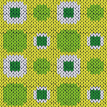 woollen: Seamless knitting geometrical vector pattern with symmetrical square cells in green yellow and white colors as a knitted fabric texture Illustration