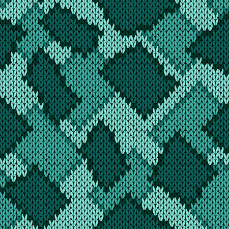 hues: Knitting seamless scrappy vector pattern in turquoise and green hues as a knitted fabric texture