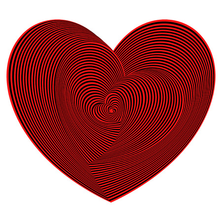 Heart shapes sequence in red and black colors on the white background, vector artwork
