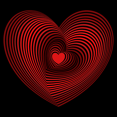 Small red heart into the lot of concentric heart shapes on the black background, vector artwork