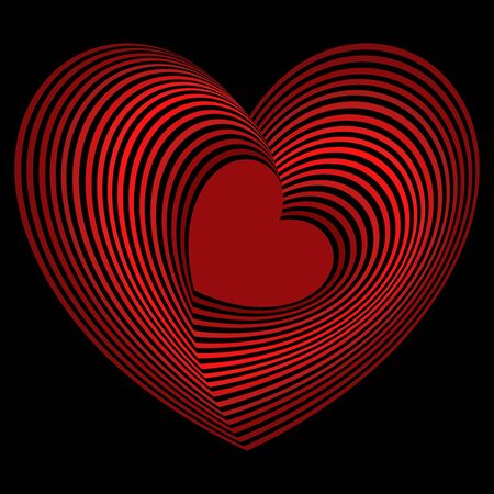 Red heart into the many concentric heart shapes on the black background, vector artwork