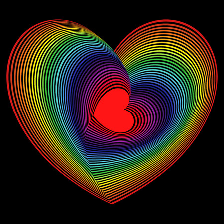 Red heart into the lot of concentric spectrum color heart shapes on the black background, vector artwork