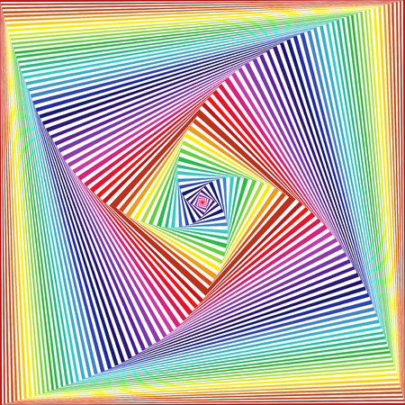 Concentric square shapes forming the sequence with swirl pseudo 3D effect, abstract vector pattern in white and multicolor spectrum hues