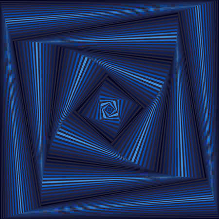 superposition: Concentric square shapes forming the sequence with swirl pseudo 3D effect, abstract vector pattern in grey and blue hues