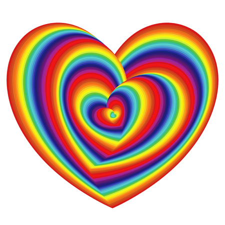 Twisted spectrum of concentric heart shapes , vector artwork Ilustração
