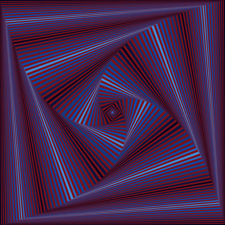 Concentric square shapes forming the sequence with swirl pseudo 3D effect, abstract vector pattern in red and blue hues