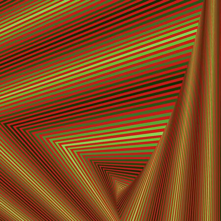 Concentric triangle shapes forming the sequence with swirl pseudo 3D effect, abstract vector pattern in red and green hues