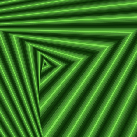 hues: Concentric triangle shapes forming the sequence with swirl pseudo 3D effect, abstract vector pattern in many green hues Illustration