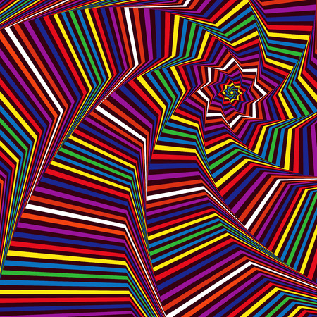 octogonal: Concéntricos formas de estrellas octogonales que forman la secuencia digital con efecto de remolino de pseudo 3D, modelo del vector abstracto en muchos colores