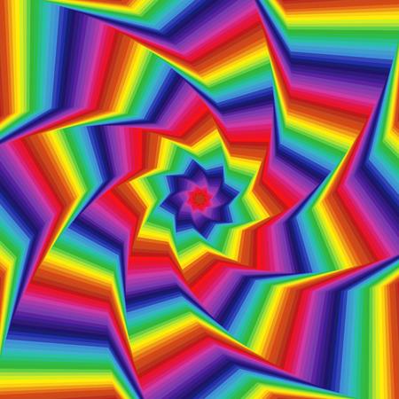 octagonal: Concéntricos formas de estrellas octogonales que forman la secuencia digital con efecto de remolino de pseudo 3D, modelo del vector abstracto en los colores del espectro