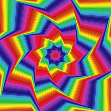 Concentric octagonal star shapes forming the digital sequence with swirl pseudo 3D effect, abstract vector pattern in spectrum colors