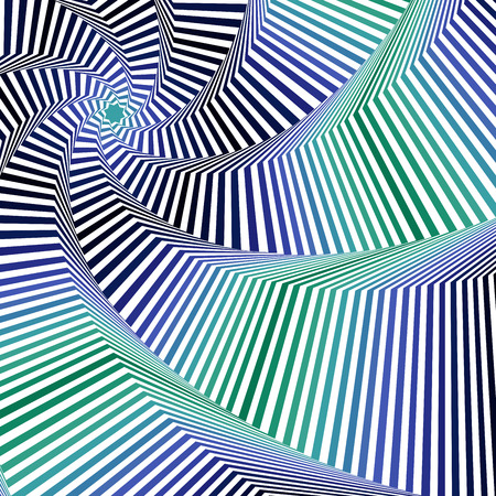 superposition: Concentric octagonal star shapes forming the digital sequence with swirl pseudo 3D effect, abstract vector pattern in blue and green hues Illustration