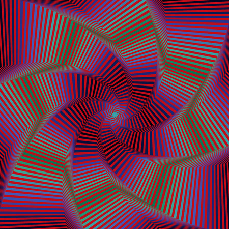 Concentric octagonal star shapes forming the digital sequence with swirl pseudo 3D effect, abstract vector pattern in red, blue and green hues Illustration