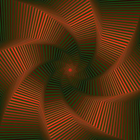 octogonal: Concéntricos formas de estrellas octogonales que forman la secuencia digital con efecto de remolino de pseudo 3D, modelo del vector abstracto en color rojo y verde Vectores