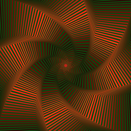 Concentric octagonal star shapes forming the digital sequence with swirl pseudo 3D effect, abstract vector pattern in red and green color Illustration