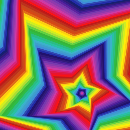 Concentric five-pointed star shapes forming the digital sequence with swirl pseudo 3D effect, abstract vector pattern in spectrum colors