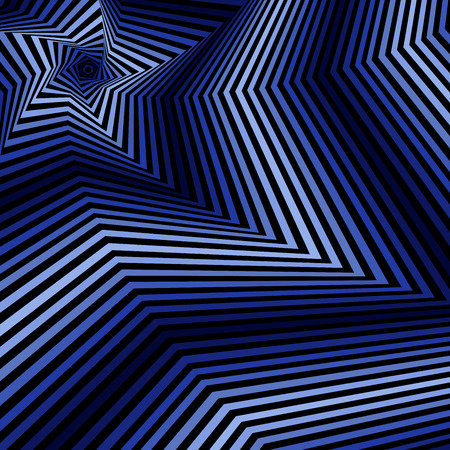 Concentric pentagonal star shapes forming the digital sequence with swirl pseudo 3D effect, abstract vector pattern in blue and black color Illustration