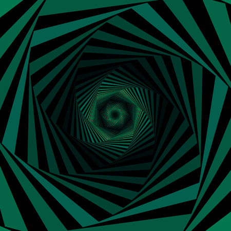 endlessness: Concentric hexagonal shapes forming the digital sequence with swirl pseudo 3D effect, abstract vector pattern in green and black color Illustration