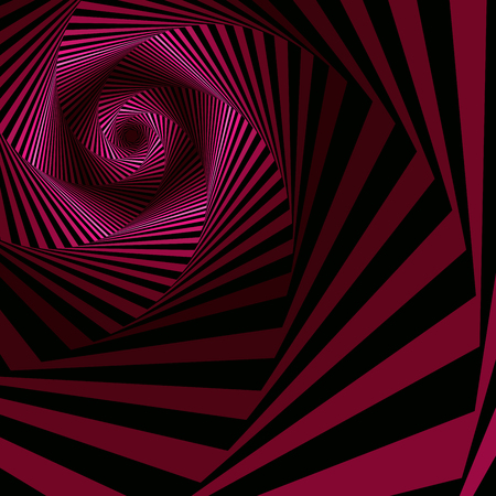 Concentric hexagonal shapes forming the digital sequence with swirl pseudo 3D effect, abstract vector pattern in magenta and black color