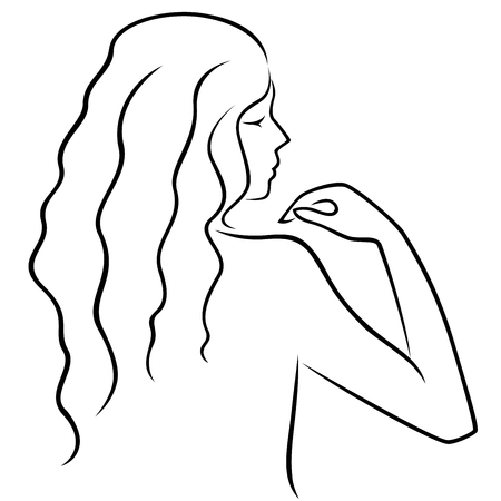 Abstract hand gesticulating women with long locks, view from the back, hand drawing  outline