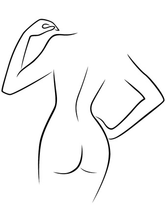 Abstract graceful hand gesticulating female, view from the back, hand drawing  outline