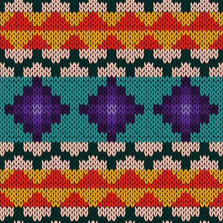 hues: Knitted geometric background in red, orange, turquoise, pink and violet hues, seamless knitting vector pattern as a fabric texture