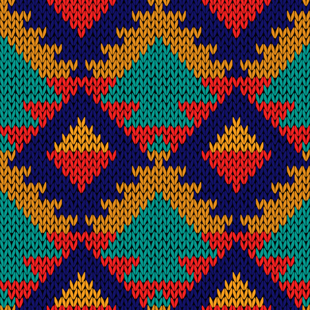 Knitted geometric motley background in red, orange, turquoise and blue colours, seamless knitting vector pattern as a fabric texture Illustration