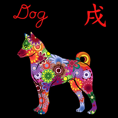 Chinese Zodiac Sign Dog, Fixed Element Earth, symbol of New Year on the Eastern calendar, hand drawn vector stencil with colorful flowers isolated on a black background