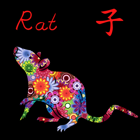 Chinese Zodiac Sign Rat, Fixed Element Water, symbol of New Year on the Eastern calendar, hand drawn vector stencil with colorful motley flowers isolated on a black background
