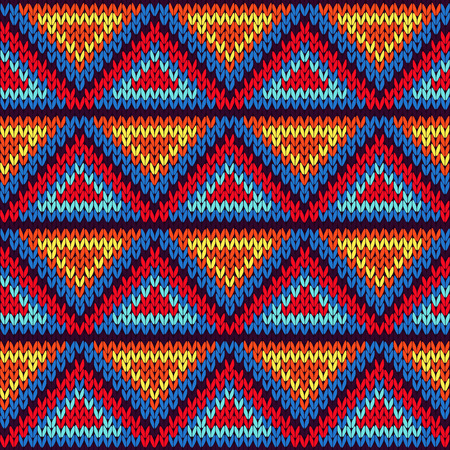 Knitted geometric background with colourful triangle ornament in red, blue, orange and yellow hues, seamless knitting vector pattern as a fabric texture
