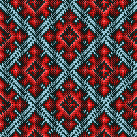 hues: Knitted geometric motley background mainly in red and blue hues, seamless knitting vector pattern as a fabric texture Illustration