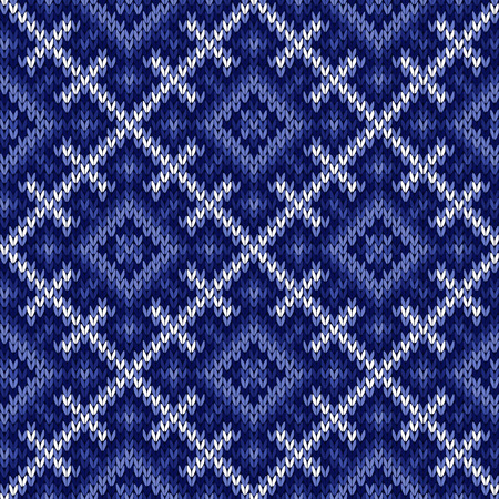 woollen: Knitted geometric background in winter motif in cool blue hues and in white, seamless knitting vector pattern as a fabric texture Illustration