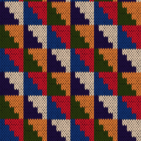 motley: Knitted motley geometric background in blue, red, green, orange and beige colors, seamless knitting vector pattern as a fabric texture