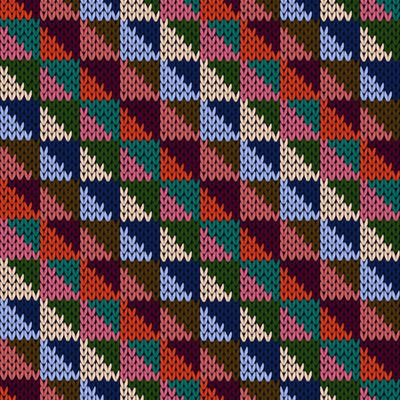 motley: Knitted motley geometric background in blue, pink, turquoise, orange and beige colors, seamless knitting vector pattern as a fabric texture Illustration