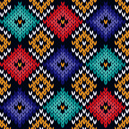 Checkered quadratic multicolor knitted background, seamless knitting vector pattern as a fabric texture Illustration